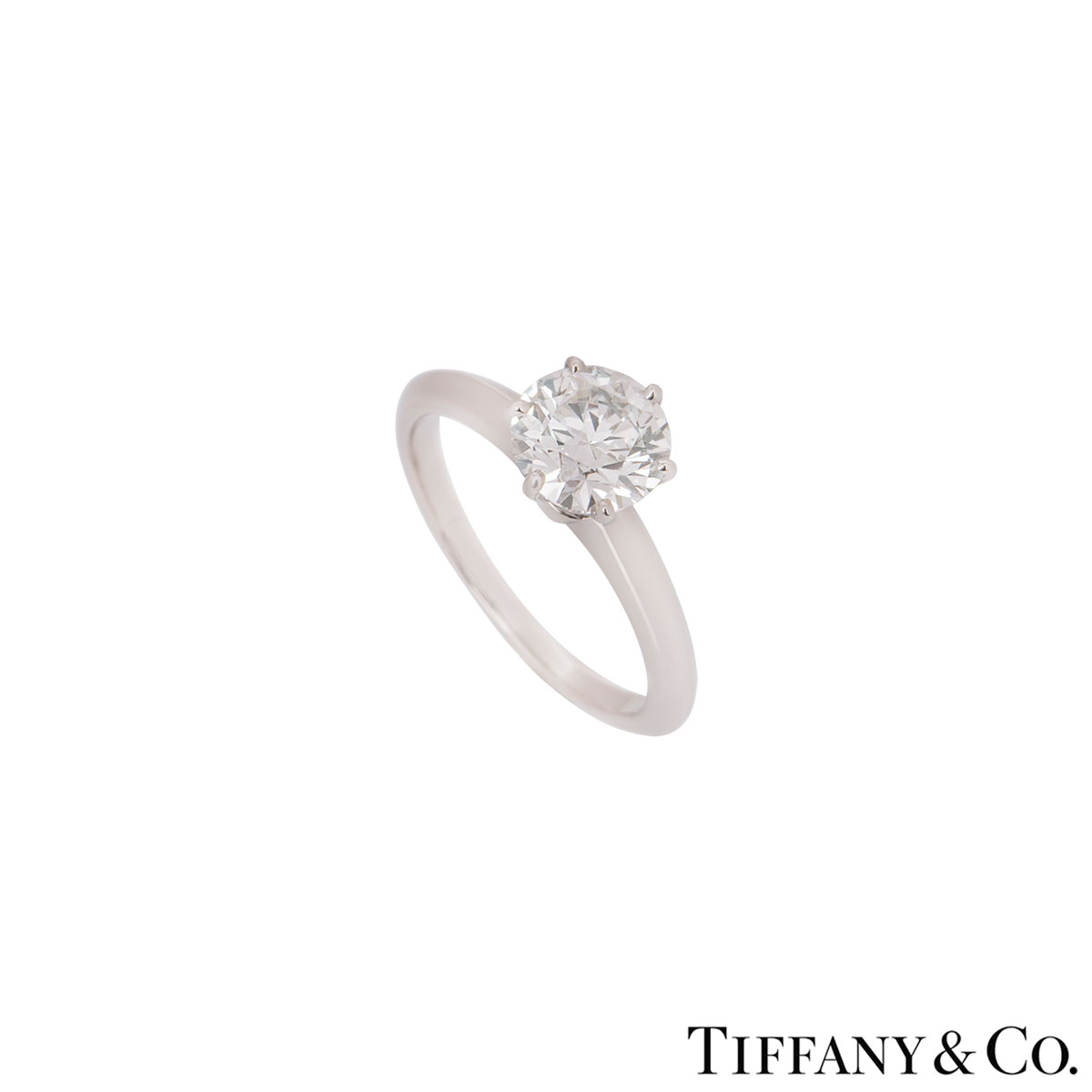 Tiffany & Co. Platinum Diamond Setting Ring 1.52ct I/VVS2
